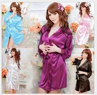 Wholesale 2016 New Arrival Womens Ladies Sexy Silk Lace Kimono Bathrobe Dressing Gown Lingerie Sleepwear Nightwear Sexy Underwear Pyjamas Colors