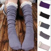 Wholesale 1pair New Hot Lace Floral Stepped Foot Knitted Autumn Winter Warm Leg Women Warmers Soft Color Fashion Boot Socks Free Ship