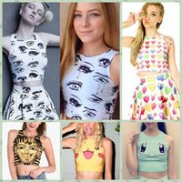 Wholesale 2016 New Fashion Women Harajuku Tank Tops Vest D Emoji Print T Shirts Tank Tops Camis Cute Girls Sleeveless Summer Short Crop Tops