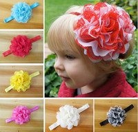 Hair Bows african gele fabric - 50pcs quot hair accessories kids bows flower baby girls headband lace fabric flowers with stretchy hair band african gele SG8623