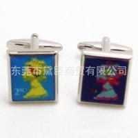 batch stamp - Dongguan spot mixed batch custom cufflinks square cufflinks French stamps picture Queen of England Cufflinks CZ