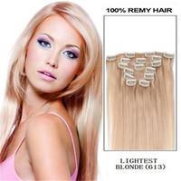 Blonde auburn hair salon - Bleach Blonde Straight Remy Clip in Hair Extensions quot quot quot quot quot Beauty Salon Women s Accessories g set sets