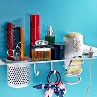 Wholesale Handy Multifunctional Storage Rack Space saving Wall mounted Hairdryer Frame Awesome Bathroom Storage and Organization Product H16038