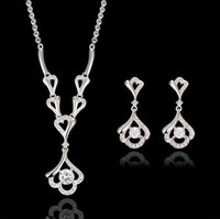 american fine jewelry - Fashion Zircon Jewelry Sets For Women Fine Jewelry High Quality Silver Plated Necklace Earrings Sets For Wedding Jewelry Sets CAL31096A