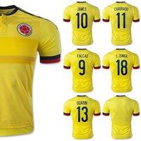 Venta al por mayor Nueva Jersey Colombia 2015 Amarillo # 10 James # 9 FALCAO 15/16 camisetas de fútbol Colombia Inicio Kits CUADRADO Guarín aficionados ZUNIGA Tailandia V