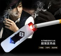 Wholesale Portable Multifunction plastic smokeless Windproof Rechargeable Flameless Electronic Cigarette lighter USB Lighter pc per set