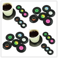 bamboo spinning fiber - Fashion Hot set Home Table Cup Mat Creative Decor Coffee Drink Placemat Spinning Retro Vinyl CD Record Drinks Coasters