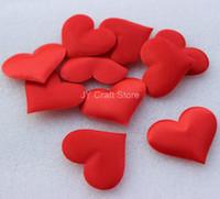 al por mayor prendas de formas-El sistema de Appliques rojos de la forma del corazón del fieltro de la tela 500pcs con la esponja acolchó los remiendos de la ropa de los pétalos de 35m m wedding favor FZ0150