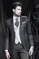 mens dress pants - High Quality One Button Black Groom Tuxedos Peak Lapel Groomsmen Mens Wedding Dresses Prom Suits Jacket Pants Vest Tie G5051