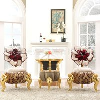 Wholesale Continental leisure furniture Mei yu Salon Suite table and chairs set of three combined rose fabric sofa Chair