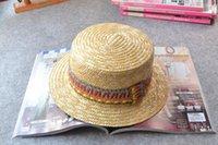Gros-naturel Canotier chapeau de paille courte Brim Chapeau de paille de blé 57-59cm TAILLE