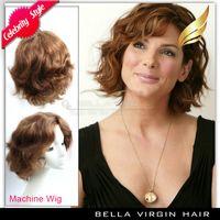 Dark Brown wavy Brazilian hair Cheap Wigs 100% Human Hair Wig Machine 6inch Dark Brown #2 Wavy Wig Made by Machine Free Shipping Wig Sewing Machine