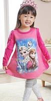 al por mayor otoño congeladas-Lo nuevo Frozen Elsa Anna Chicas vestido de la historieta largos vestidos de manga historieta del algodón de la princesa de los vestidos de los niños del vestido de otoño de los niños del vestido de primavera