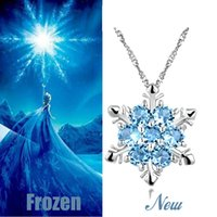 Wholesale Pink Blue Crystal Snowflake Pendant Necklace Sterling Silver Pendant Necklace Frozen Style Snow Women Birthday Gift Jewelry Low Price