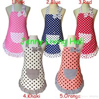 china (mainland) kids aprons - Apron Child Cute Cotton Polka Dots Apron Kids Apron for Painting Cooking Baking Party Apron