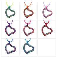 assorted charms candy - 10pcs Bohemian Style New Arrive Assorted Candy Colors locket Floating Heart locket Charms Pendant Necklace With Free Cotton Chains