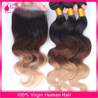 Cheap 9A Honey Blonde Ombre Human Hair Bundles With Lace Closure Free Part 1 4 27 3 Tone Body Wave With Closure 4pcs lot