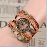 Wholesale Hot Women Men Jewelry Vintage Braided Handcuffs Infinity Watch Metal Leather Bracelet Multilayer Rope Bracelets Bangle