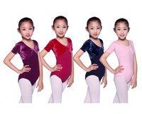 girls leotard - New arrival children girls short sleeve velvet lycra dance gymnastics training leotard size years colors