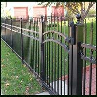 Wholesale Decorative Palisade Fence Panel Or Gated Used For Rural Dwelling In Harmony With Scenery Around Black Color