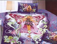 Wholesale Cotton Duvet Quilt Covers sets purple butterfly girl cartoon pattern for children s bedding comforter sets with sheets bedlinen