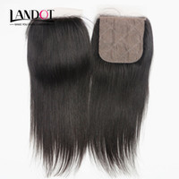 Cheap Silk Base Closures Brazilian Malaysian Peruvian Indian Cambodian Straight Virgin Human Hair Lace Closure Free Middle 3 Way Part Hidden Knots
