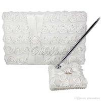 Wholesale 2Pcs set White Wedding Guest Book Pen Set for Wedding Party Hotel Bridal Decoration Products Supplies JZ PXTZ B