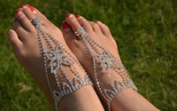 Wholesale 2pcs Elegant Rhinestone Crystal Beach Barefoot Sandals Foot Chains Butterfly Anklet Boho Women s Outfit Adornment jc013