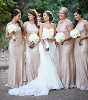 Wholesale 2015 New Christmas Bridesmaid Dresses Gold Sequins Cap Sleeve Crew Neckline Fit and Flare Maid Of Honor Dresses
