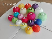 Wholesale Small Paper Lanterns Wholesale - Wholesale-Multi Colors Option 3inch 7.5cm Chinese Small Rice Paper Lantern Ball Hanging Round Lampion Wedding Party Decorations