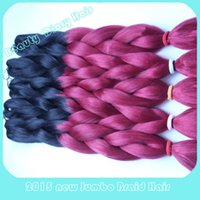 kanekalon hair - Kanekalon Synthetic Braiding Hair Folded inch g Ombre Black Crimson Two Tone Color Jumbo Braid Hair Extensions More Colors