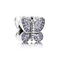 silver charm - Butterfly Silver Beads Jewelry Purple Sparkling Pave Silver Charms Lw358
