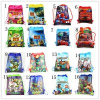 draw string bag - Minecraft Kids Backpack Non woven Draw String Bag Cartoon Pattern Printed Despicable Me TMNT Pattern Mix Order Is Acceptable