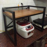 american microwave - American Iron wood kitchen shelf microwave oven shelf racks
