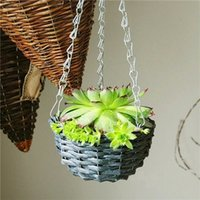 wooden planter - 44 CM Pastoral Style Wooden Iron Hanging Wall Gardening Flower Pots Planter Dark Grey Willow Flower Pots For Succulents
