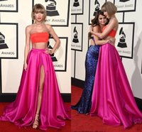 Wholesale 2016 th Grammy Awards Taylor Swift Celebrity Dresses Two Pieces A Line Sexy High Split Side Satin Trendy Red Carpet Gowns Custom