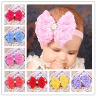 Wholesale Baby Head Flower Hair Accessories double rows of roses headband chiffon bow hair band cm exquisite fashionable Girl hair band