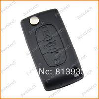 batteries key blanks - peugeot car flip remote key blanks for sale with trunk no battery holder for HU83 blade M38064