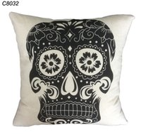 Cheap Wholesale-43cm*43cm Home Decoration black & white Cotton Linen Skull Pillow case grey Skull pillow Cover bed Sofa Car cushion Cover