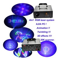 Wholesale DHL newest Animation D in1 mW RGB animation laser show system lazer luz show K scanners ILDA PC