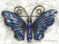 costume brooch jewelry - jewelry gift purple blue Enamel Brooch Fashion Costume brand Brooches Butterfly Crystal brooch pin C791