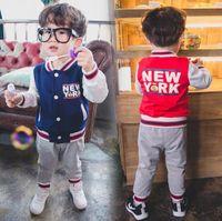 baseball pants lot - Boys Sport Suit Spring Fashion Children Set Coat Pants Casual Long Sleeve Kids Baseball Uniform Fit Age Set T1866