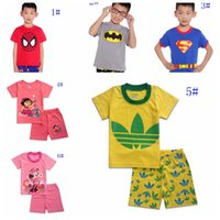 Cheap DHL- kids nightsuits 2015 children pajamas baby girl's summer outfits cartoon super man bat man boy's sleepwear cute girl cartoon homewear