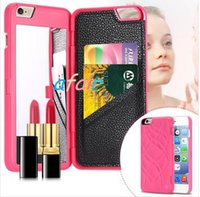 magic cards - 2016 iFrogz Charisma Magic Mirror Case MultiFunction Wallet Card Slot Holder PC Cases Girls Cosmetic Mirror Cover for iphone S plus DHL