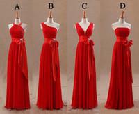designer tights - Fashion Red Bridesmaids Dresses Tight Pleats Elegant Bow Knot Chiffon Long Designer Plus size Bridesmaid Party Dresses