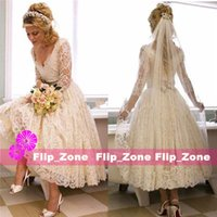 3 4 sleeve plus size wedding dresses - Vintage Deep V Neck Lace Short A Line Wedding Dresses with Sheer Long Sleeves Ribbon Tea Length Cheap Plus Size Bridal Gowns