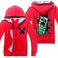 Cheap 2015 Spring Red Minecraft Run Away Boys Hoodies Coat Children Long Sleeve Cartoon Hooded Zipper Jacket Boys Overcoat outwear Kids wear 4-14Y