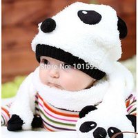 Wholesale 2014 New Novelty Fashion Color Baby Child Lovely Panda Plush Scarf Hat Glove Sets Cute Warm Winter