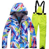 Wholesale Dropshipping Waterproof Sportwear Female Ski Suit Women Winter Ski wear Top Hoodie Jacket Strap Pants snow jacket and pants