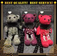 apple face doll - 3D Cartoon Cute Teddy Bear Felt Plush Dolls Cover Rivet Rhinestone Case for iPhone s Plus Smile Sad Face Toys